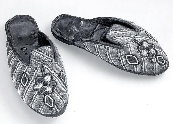 Shoe (Bata ileke), Leather, cloth, beads, iron tacks, Yoruba peoples