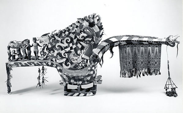 Hornbill Figure (Kenyalang), Wood, tradecloth, fiber, copper coins, paint, plastic, iron nails, Iban people