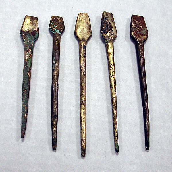Hammered Silver Miniature Spatula, Silver (hammered), gilt, Chimú or Chancay