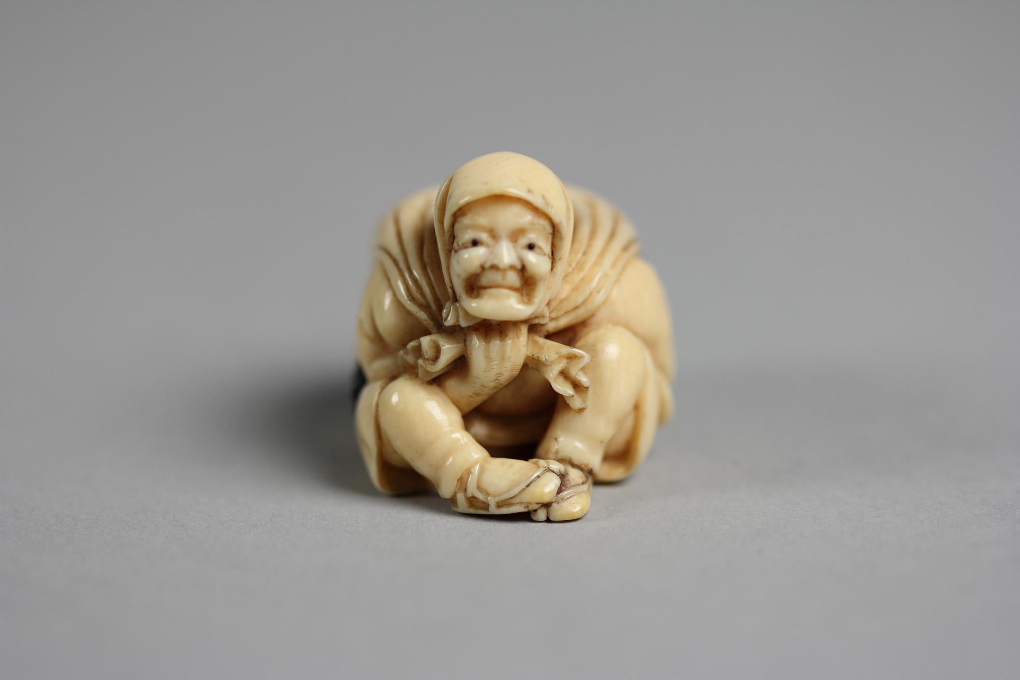 Netsuke Of Old Man Carrying A Bag Of ōni Demons Japan Edo 1615 1868 Or Meiji Period 1868 1912 The Metropolitan Museum Of Art