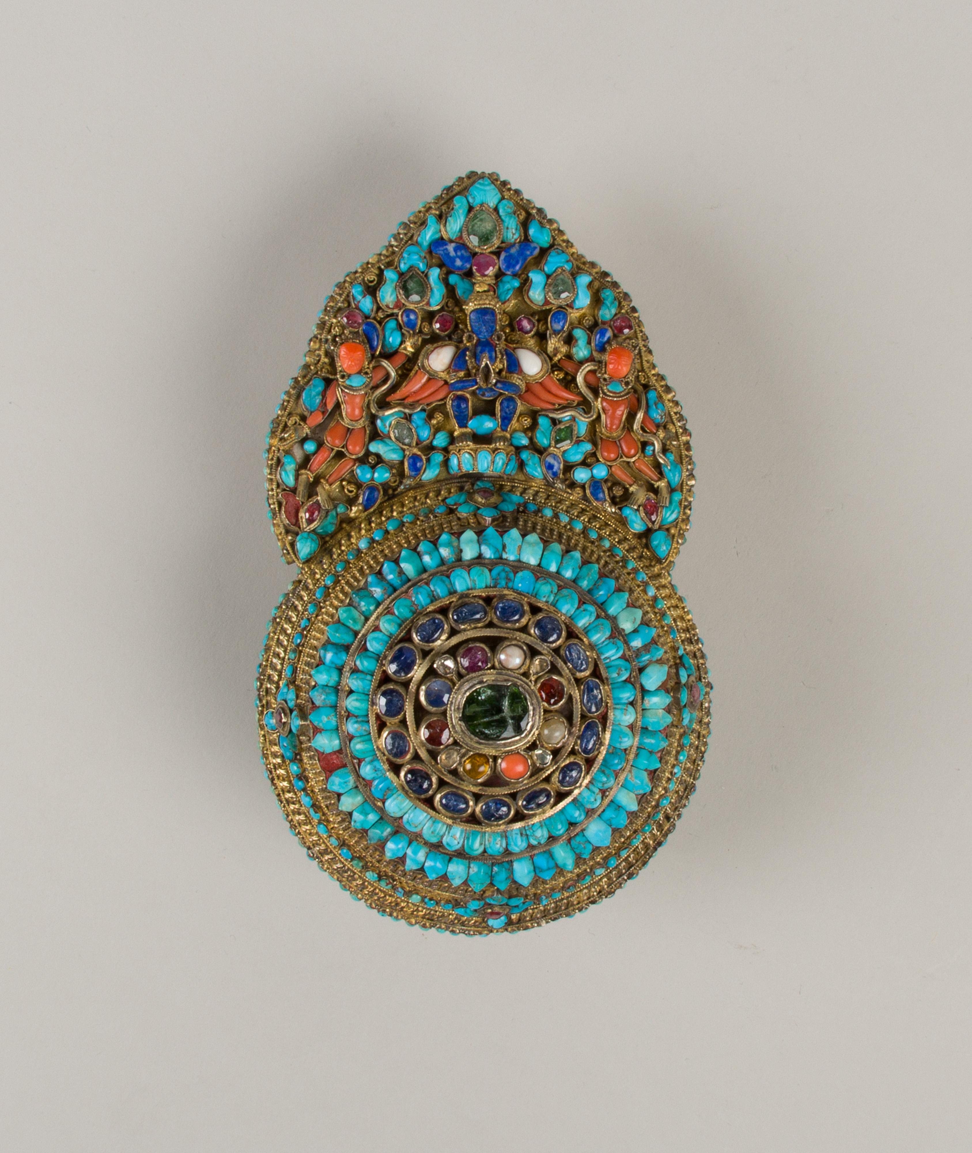 Lapis Stone Coral Striking Inlaid Nepalese Hamsa Pendant /& Earring Set!! Malachite Brass~