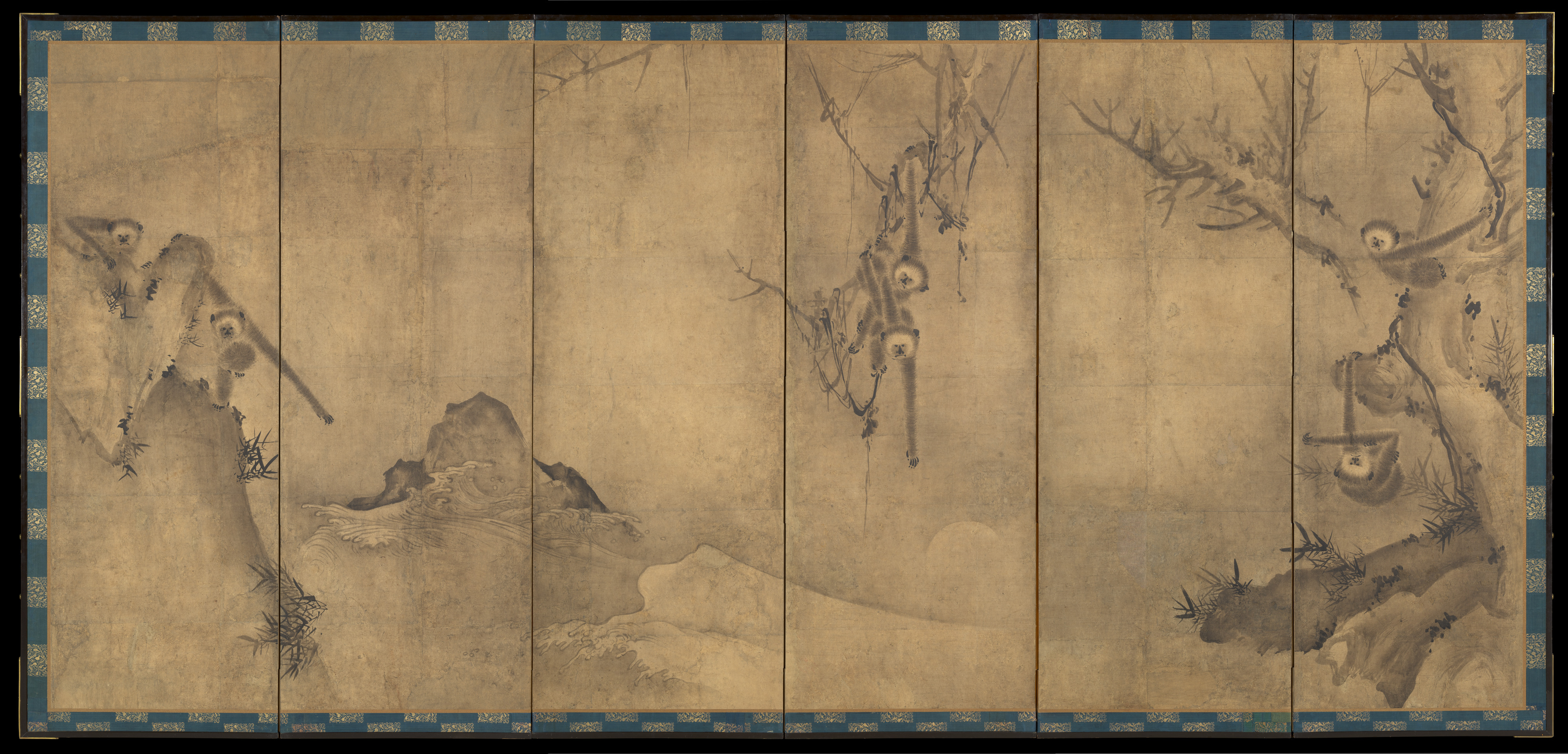 Sesson Shukei Gibbons In A Landscape Japan Muromachi Period