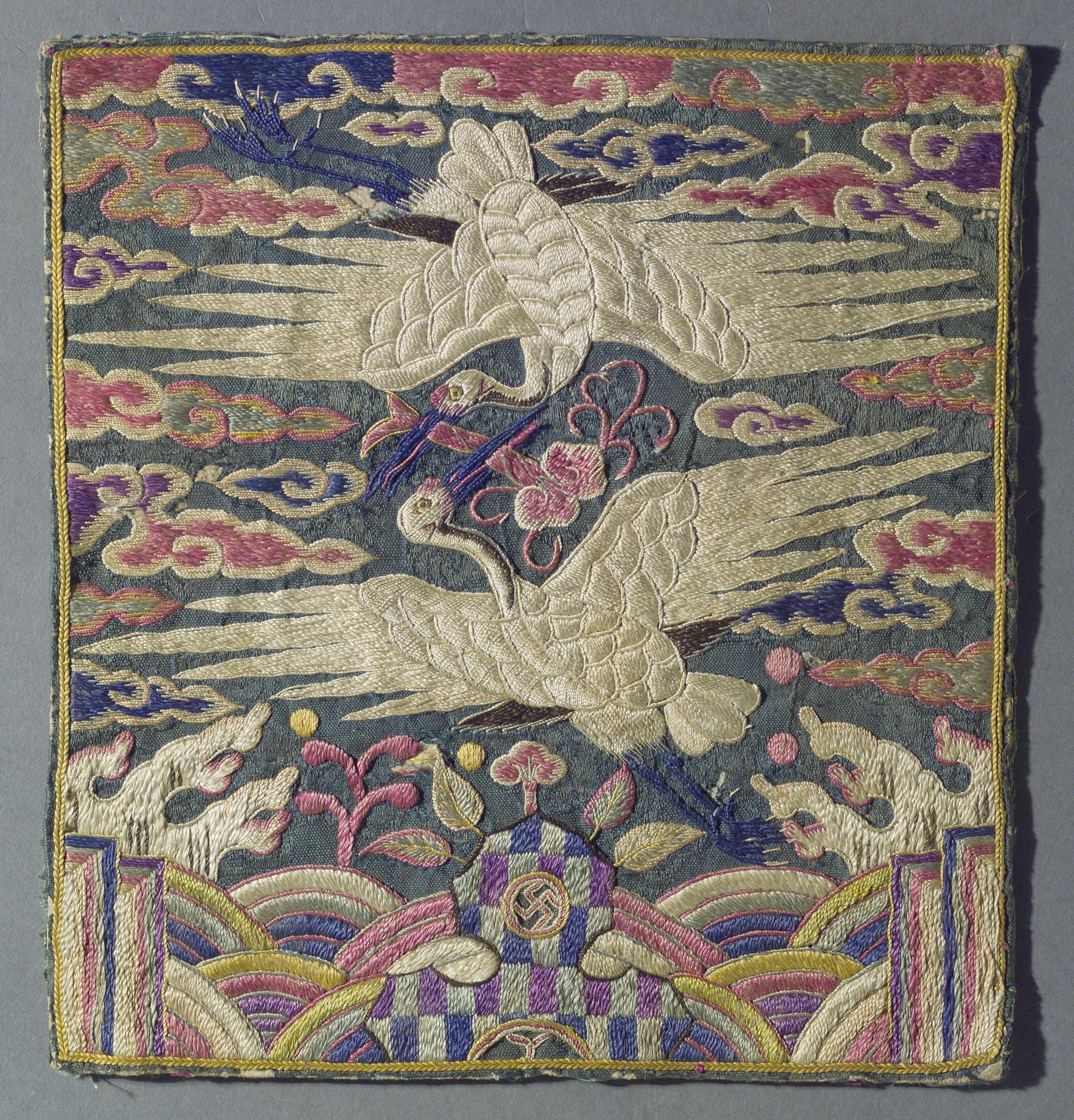 Rank Badge With A Pair Of Cranes Korea Joseon Dynasty