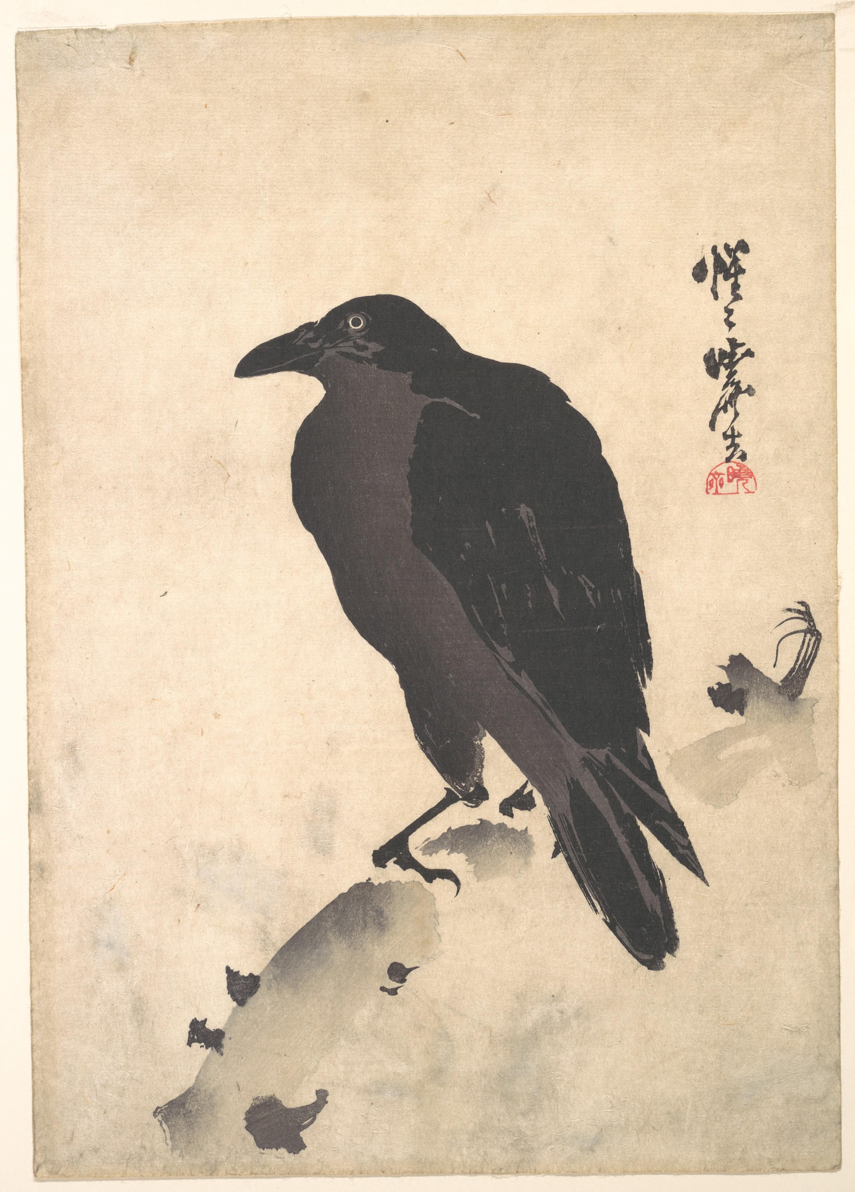 Kawanabe Kyōsai Crow Resting On Wood Trunk Japan The Met