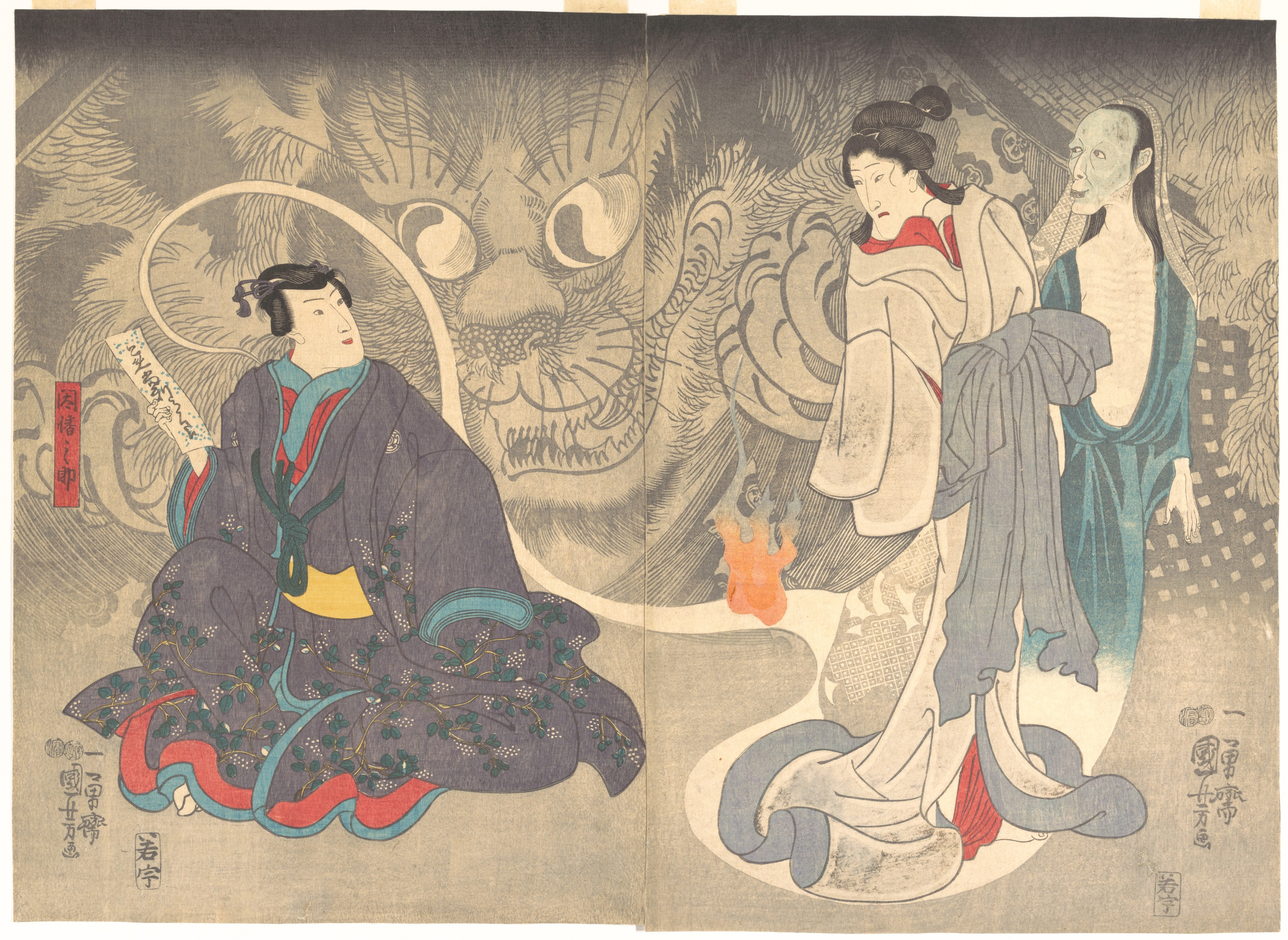 Utagawa Yuniyoshi's painting of a scene from a ghost story: the Okazaki cat demon.