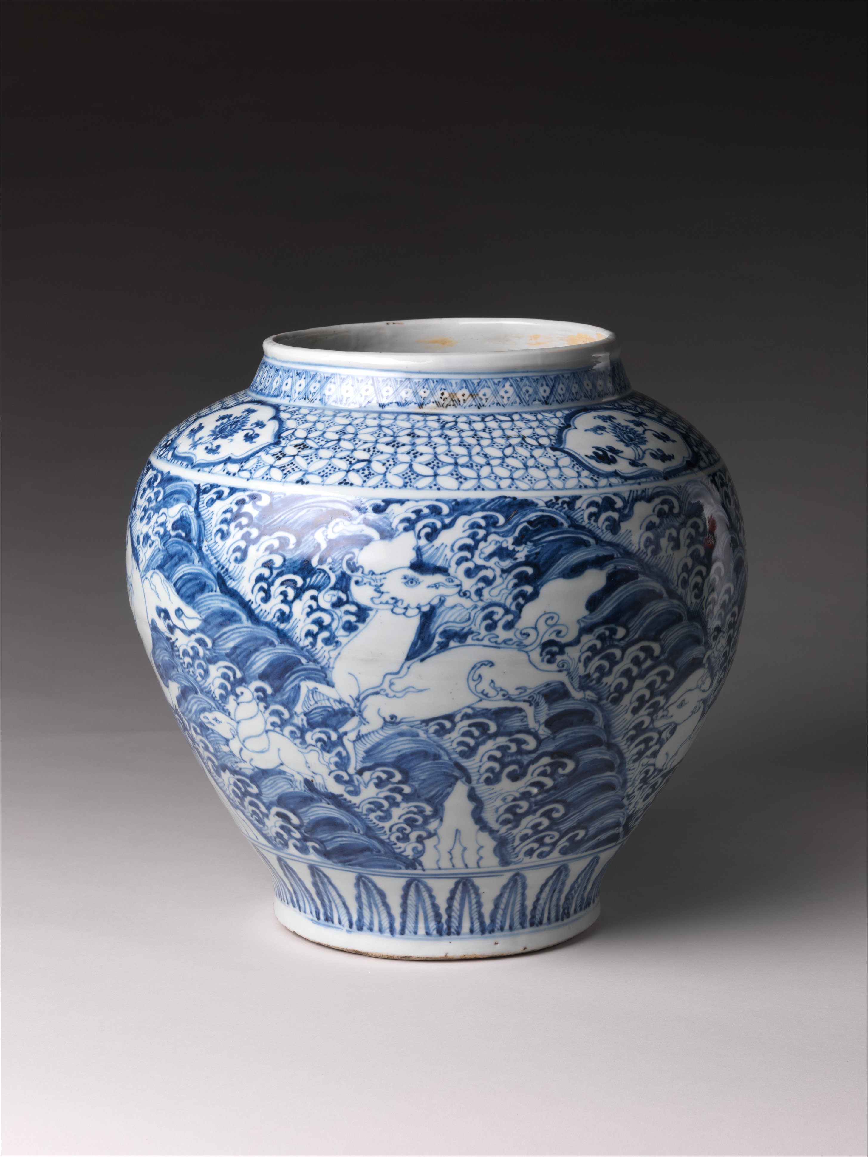 Jar With Winged Animals Over Waves China Ming Dynasty