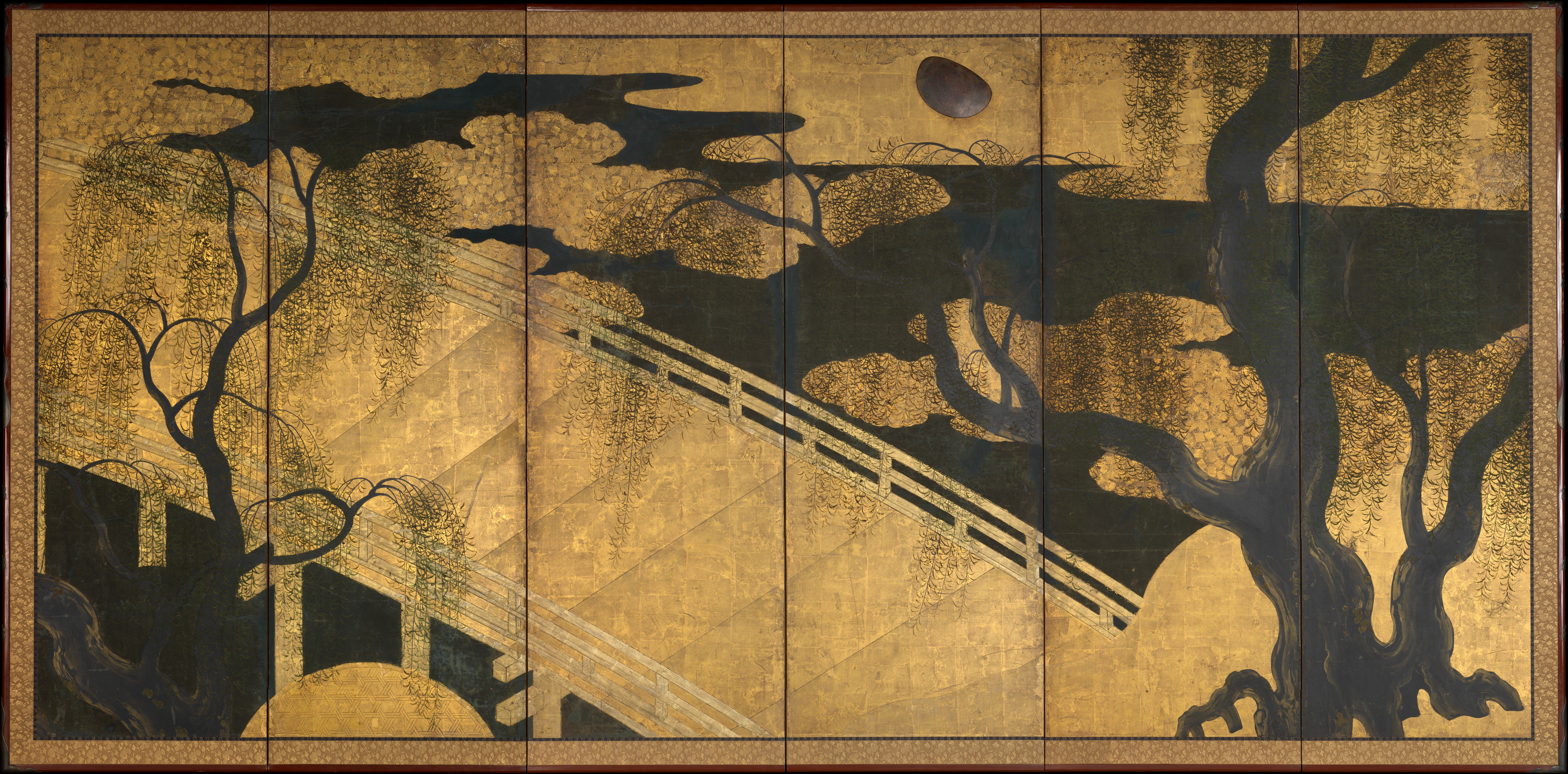 Willows And Bridge Japan Momoyama Period 1573 1615