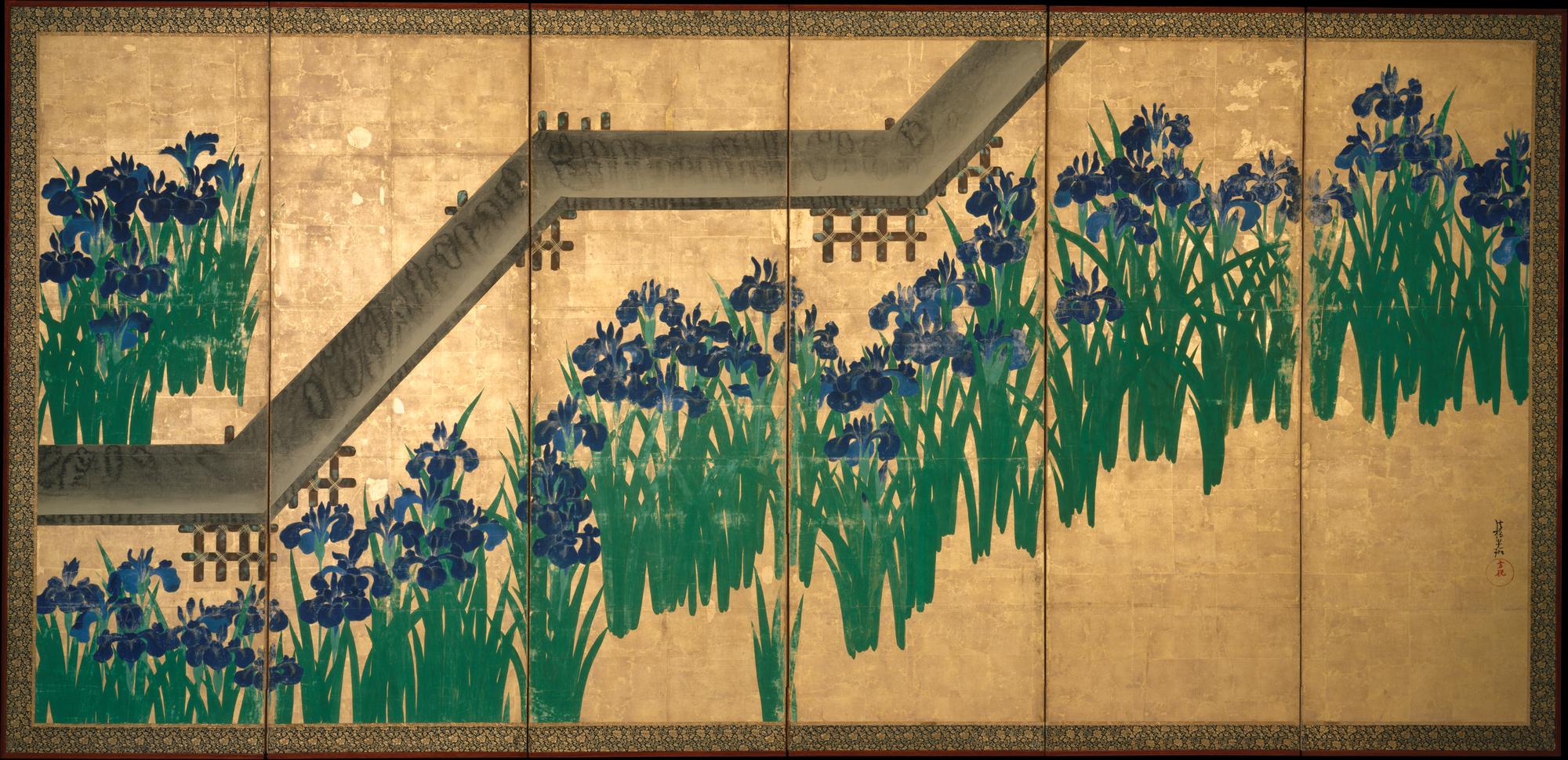 Ogata krin irises at yatsuhashi eight bridges japan edo irises izmirmasajfo