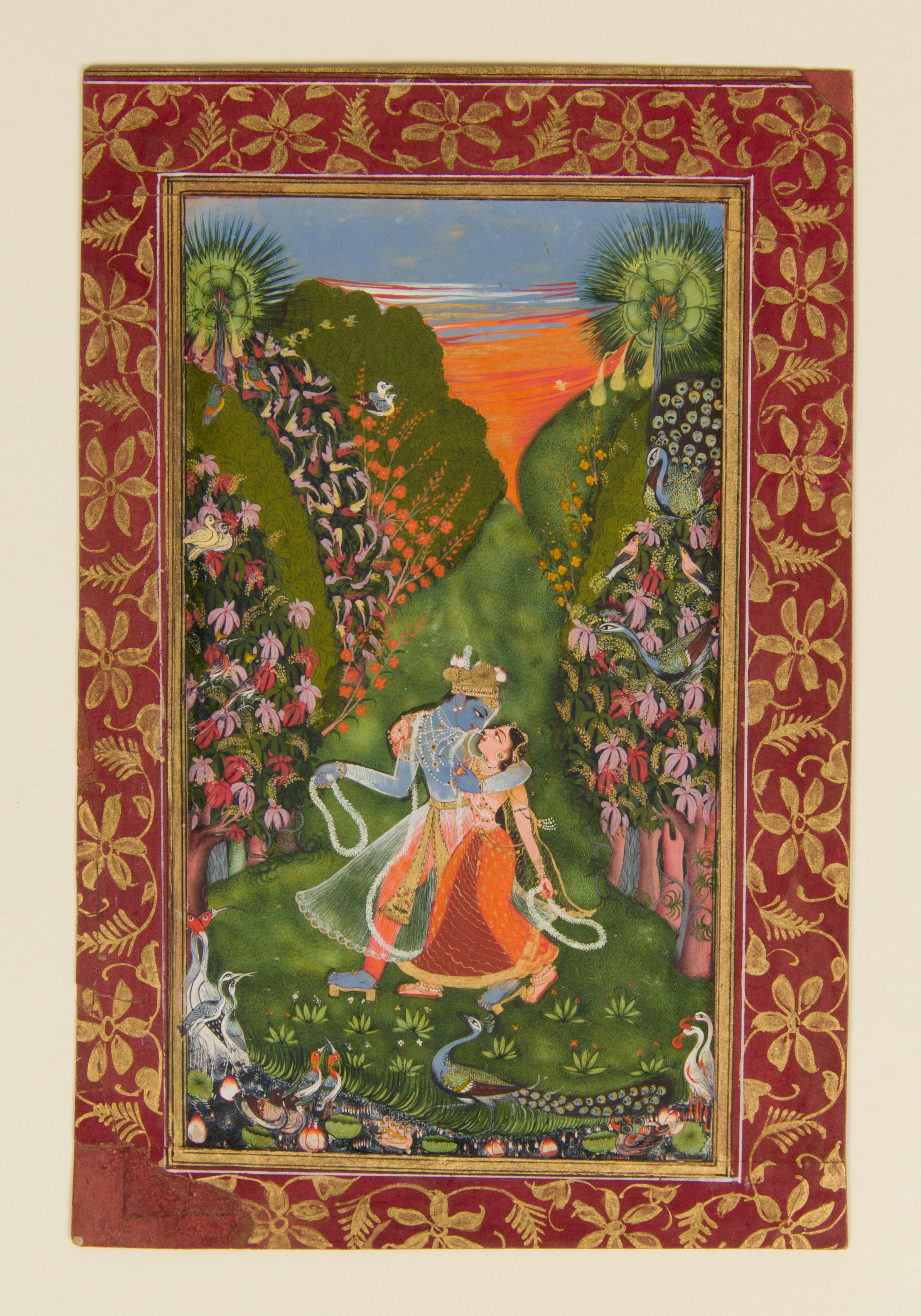the kota master radha and krishna walk in a flowering grove recto