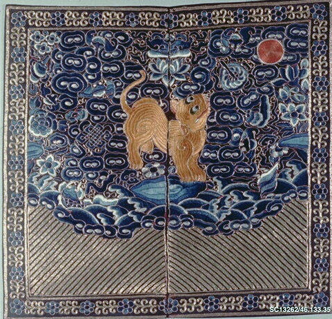 Ancient Chinese rank badge with a tiger cat embroidered with silk and gold.