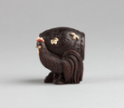 Netsuke, Wood inlaid with ivory and mother-of-pearl, Japan