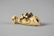 Netsuke of Hand and Forearm of a Demon with Small Demon on the Side, Ivory, Japan