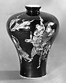 Vase, Porcelain painted in famille noire enamels, China