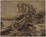 Landscape in the Style of Guo Xi, Tan Song (Chinese,  active mid–18th century), Hanging scroll; ink and color on silk, China