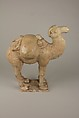Two Camels, a: unglazed pottery; b: whitish earthenware with traces of polychrome, China