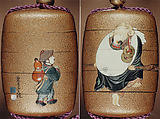 Case (Inrō) with Design of Hotei (Putai) Carrying a Small Boy (obverse); Boy Carrying Gourd-Flask (reverse), Tokoku Fuzui, Gold lacquer with ivory and wood inlay; Netsuke: ivory and lacquered wood figure, Ojime: gold bead with face of Daikoku, god of good fortune, Japan