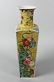 Vase, Porcelain painted in polychrome enamels on the biscuit and on the glaze (famille jaune), China