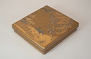 Writing Box with Cranes, Pines, Plum Blossoms, and Characters, Lacquered wood with gold and silver takamaki-e, hiramaki-e, togidashimaki-e, and silver inlay on nashiji ground, Japan
