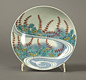 Dish with Design of Water Plants, Porcelain with underglaze blue and overglaze enamels (Hizen ware, Nabeshima type), Japan