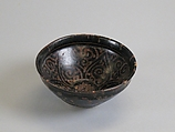 Tea Bowl with Abstract Scroll Design, Stoneware with painted decoration on brown glaze (Jizhou ware), China