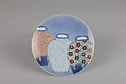 Dish with Design of Three Jars, Porcelain with underglaze blue and overglaze enamels (Hizen ware, Nabeshima type), Japan