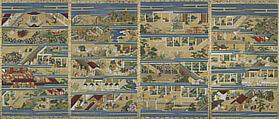The Illustrated Life of Shinran (Shinran shōnin eden), Unidentified Artist, Set of four hanging scrolls; ink, color, and gold on silk, Japan