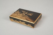 Box with Design of a Plum Tree and Pine, Gold and silver maki-e on black lacquer, Japan