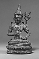 Seated Male Deity Supporting a Vajra on His Finger, Bronze, Indonesia (Java, Ngandjuk)