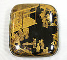 Incense Box with Kyōgen Theater Scene at Mibu Temple in Kyoto, Kōami School, Lacquered wood with gold, silver, and red togidashimaki-e on black ground, Japan