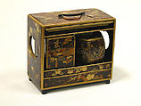 Cabinet for Incense, Nest of Boxes, Tray, Tortoiseshell on wood with sprinkled gold lacquer, Japan