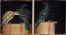 Inrō with Hawks on Perches, Koma Kōryū (Japanese, died 1796), Black lacquer ground with gold and silver togidashi, takamaki-e and hiramaki-e, red lacquer, and applied gold and silver foilNetsuke: gourd; guri lacquer, silver ring and stopper in chrysanthemum shapeOjime: butterfly and flower; cloisonné bead, Japan