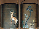 Case (Inrō) with Design of Spring Fern and Horsetail (obverse); Deer (reverse), Ogawa Haritsu (Ritsuō) (Japanese, 1663–1747), Ceramic, mother-of-pearl, pewter on brown lacquer with sprinkled gold