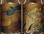 Case (Inrō) with Design of Imperial Cart and Flying Herons (obverse); Court Carriage and Flying Herons (reverse), Kajikawa School, Gold and silver maki-e with mother-of-pearl inlay and black lacquer; Ojime: agate bead; Netsuke: metal king of hell, Japan