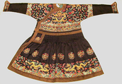 Man's Audience Robe (Chaofu), Silk satin embroidered with silk and metallic thread, China