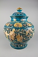 Covered Jar, Porcelain with carved, pierced, and relief decoration, in the biscuit and under colored glazes, China