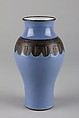 Vase, Porcelain with blue glaze and biscuit relief band representing bronze, China