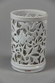Brushpot, Porcelain with low-relief decoration under clear glaze, Dehua ware (blanc de chine), China