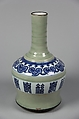 Vase, Porcelain painted in underglaze blue, with a celadon glaze, China