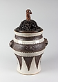 Jar with Cover, Porcelain with crackled glaze and bands of black biscuit ware representing bronze, China