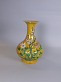 Vase, Porcelain with low-relief decoration under polychrome glazes, China