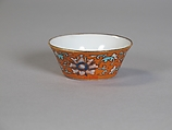 Cup (from a set of eight), Porcelain with iron-red glaze, painted in overglaze polychrome enamels, China