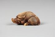 Netsuke of Boar, Ivory, Japan