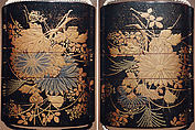 Case (Inrō) with Design of Insects beside Flowering Autumn Grasses, Lacquer, roiro, gold and silver hiramakie, nashiji; Interior: nashiji and fundame, Japan