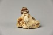 Netsuke of Seated Figure of Usume Laughing, Ivory, Japan