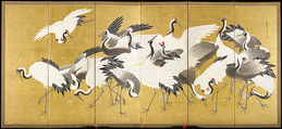 Flock of Cranes, Ishida Yūtei (Japanese, 1721–1786), Pair of six-panel folding screens; ink, color, and gold on gilt paper, Japan