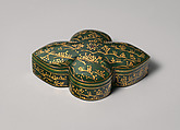 Box with cover, Jade (nephrite) with gold, silver, and stone inlays, India