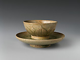 Tea Bowl and Saucer with Lotus Decoration, Stoneware with carved decoration under celadon glaze, China