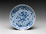 Dish with Dragons and Lotuses, Porcelain painted with cobalt blue under transparent glaze (Jingdezhen ware), China