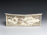 Pillow with Landscape Scenes, Zhang Family Workshop, Stoneware with painted decoration over white slip under clear glaze (Cizhou ware), China