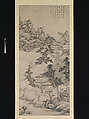 Lofty Scholar among Streams and Mountains, Wang Jian (Chinese, 1609–1677 or 1688), Hanging scroll; ink on paper, China